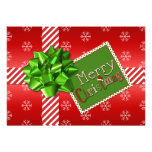 Red, Green, White Striped Christmas Photo Card