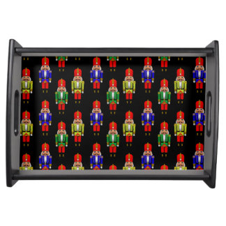 Red Green Yellow Nutcracker Tiled Pattern Serving Tray