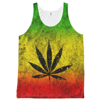Red Green Yellow Reggae Rasta Leaf Jamaican Grunge All-Over Print Singlet