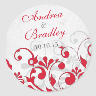 Red Grey Abstract Floral Wedding Envelope Seal Round Sticker