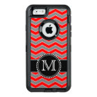 Red, grey and Black Chevron, Monogrammed Defender OtterBox Defender iPhone Case