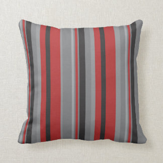 Red grey and black stripe throw pillow