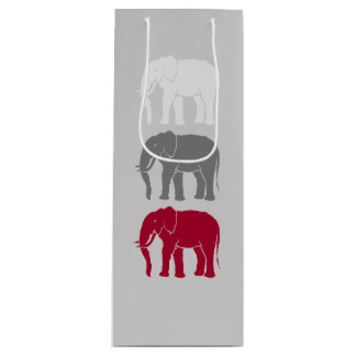 Red, Grey, and White African Elephants Silhouettes Wine Gift Bag