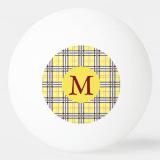 Red, Grey and Yellow Tartan Plaid Monogram Ping Pong Ball