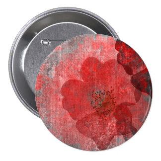 Red Grey Black Grunge Digital Graphic Art Design 7.5 Cm Round Badge