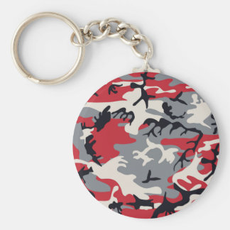 Red Grey Camo Camouflage Pattern Basic Round Button Key Ring