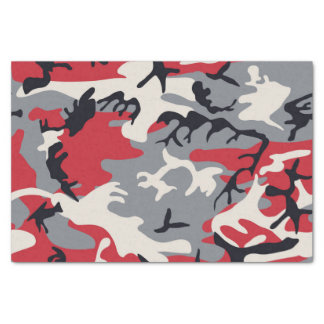 Red Grey Camo Camouflage Pattern Tissue Paper