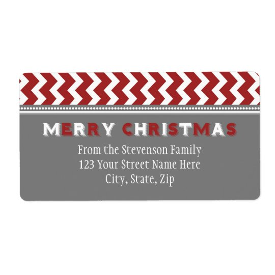 Red Grey Chevron Christmas Address Labels