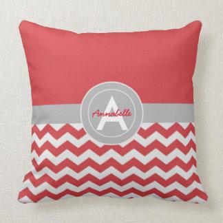 Red Grey Chevron Cushion