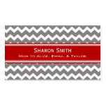 Red Grey Chevron Retro Mum Calling Cards Pack Of Standard Business Cards