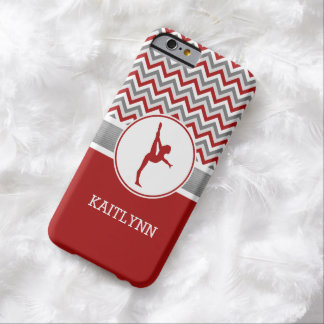 Red / Grey Chevron Stripes Gymnastics w/ Monogram Barely There iPhone 6 Case