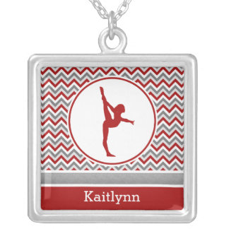 Red / Grey Chevron Stripes Gymnastics w/ Monogram Square Pendant Necklace