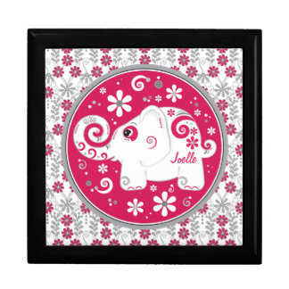Red Grey Decorated Elephant Floral Keepsake Box