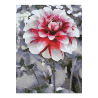 Red grey flower painting personalized invitation