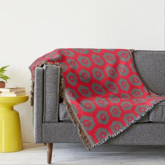 Red Grey Geometric 4Hedrick Throw Blanket