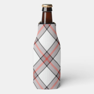 Red Grey Plaid Bottle Cooler