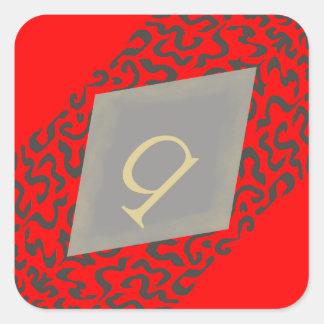Red & Grey Scroll Monogram Q Diamond Stickers