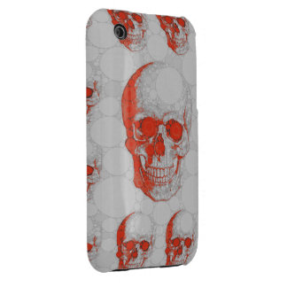 Red Grey Skulls iPhone 3 Case-Mate Case