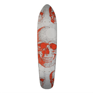 Red Grey Skulls Skateboard
