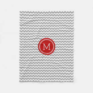 Red Grey White Chevron Pattern Monogram Blanket