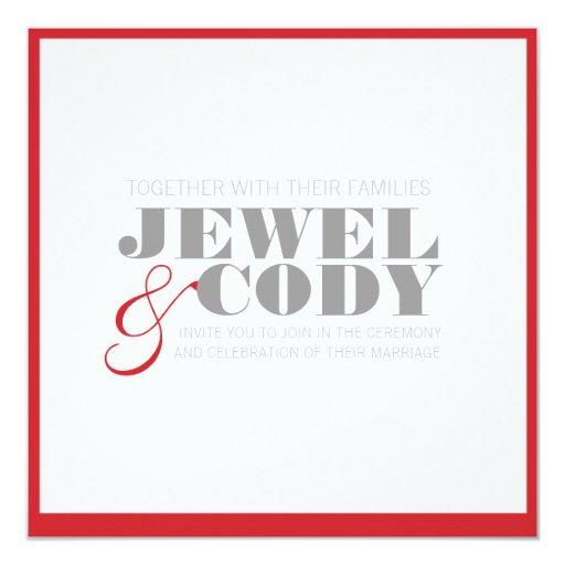 red, grey, white WEDDING INVITAION 13 Cm X 13 Cm Square Invitation Card