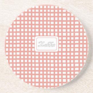 Red Grid Cottage coaster