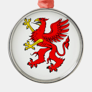 Red Griffin/Griffon/Gryphon Silver-Colored Round Decoration