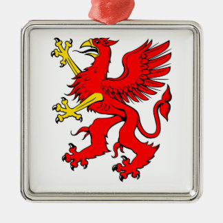 Red Griffin/Griffon/Gryphon Silver-Colored Square Decoration