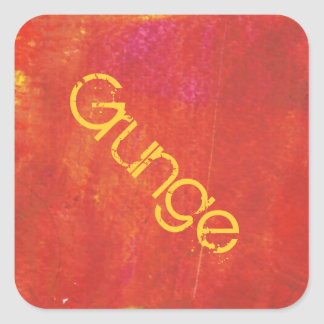 Red Grunge Abstract Artwork Square Sticker