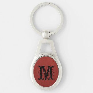 Red grunge background Silver-Colored oval key ring
