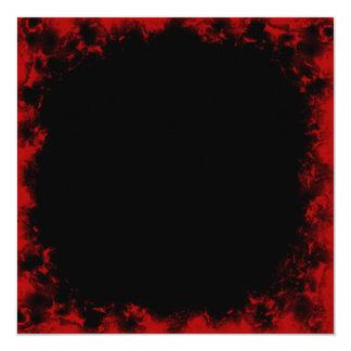 """Red Grunge Border Square Invitation 5.25"""" Square Invitation Card"""