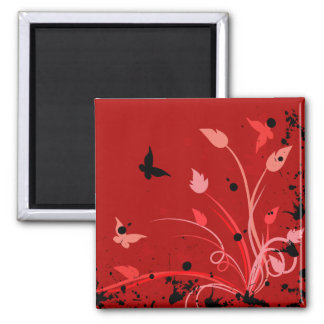 Red Grunge Butterfly Square Magnet