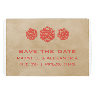 Red Grunge D20 Dice Gamer Save the Date Magnet