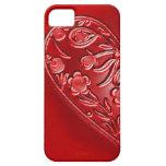 Red Grunge Floral Half-Heart