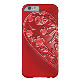Red Grunge Floral Half-Heart Barely There iPhone 6 Case