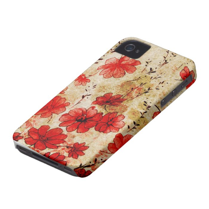 Red Grunge Floral iPhone 4 Case-Mate iPhone 4 Cases