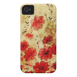 Red Grunge Floral iPhone 4 iPhone 4 Case-Mate Case