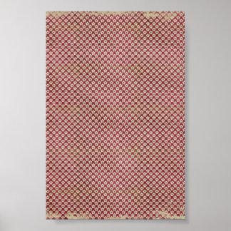 red grunge flower pattern poster