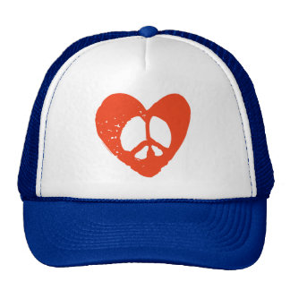 Red Grunge Heart with Peace Sign Cap