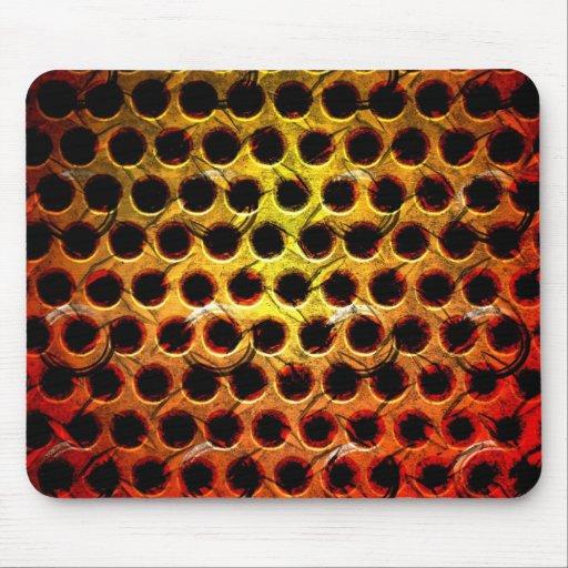 Red Grunge Metal Grid Mouse Pad