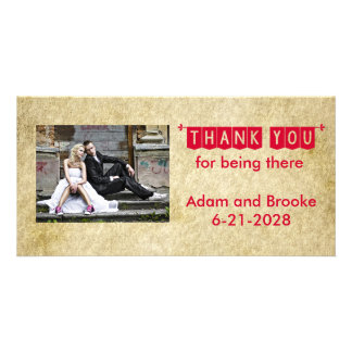 Red Grunge Old Vintage Wedding Thank You Card Personalised Photo Card