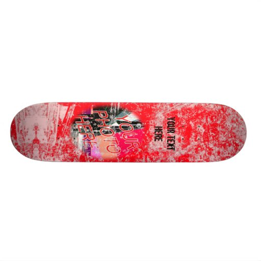 Red Grunge Photo Template Skateboard
