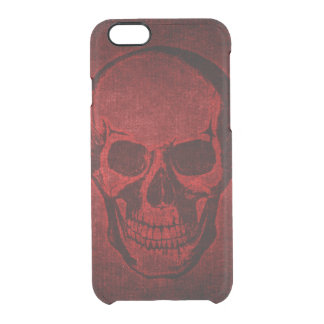 Red Grunge Skull Clear iPhone 6/6S Case