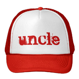 RED Grunge Text UNCLE Trucker Hat