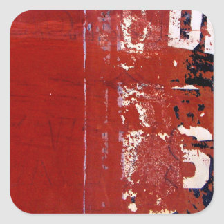 Red Grunge Texture with graffiti Square Sticker