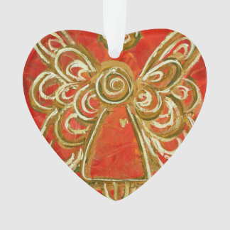 Red Guardian Angel Gift Holiday Ornament