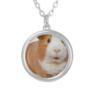 red guinea pig silver plated necklace