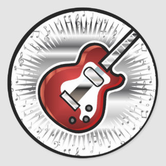 Red Guitar Classic Round Sticker
