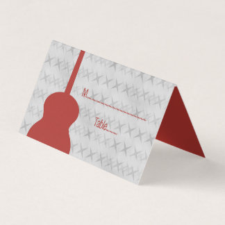 Red Guitar Grunge Tented Place Card