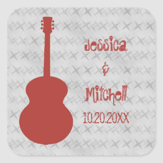 Red Guitar Grunge Wedding Stickers